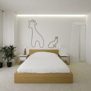 Simple White Elegant Apartment Bedroom Decor With White Curtain And Large Glass Window