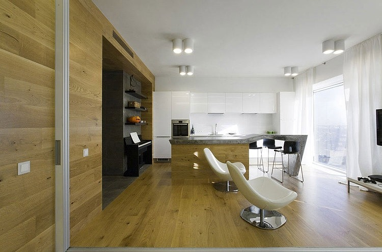 Simple Wooden Floor Living Room With 2white Chair And A TV