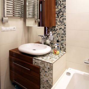 Small Bathroom Vanity With White Sink And Stailess Steel Towel Hanger