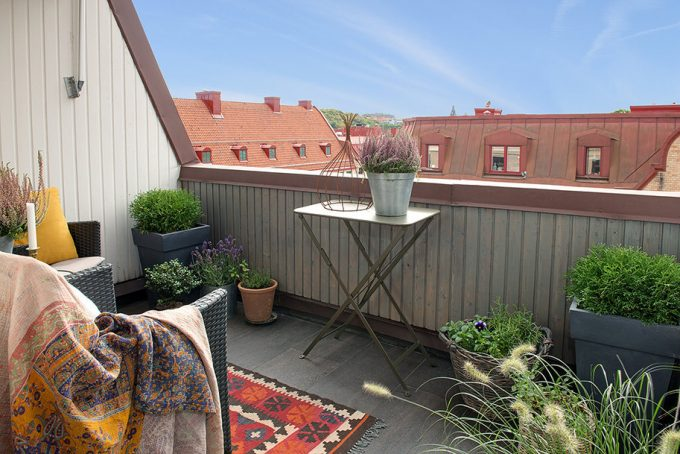 Small Wooden Deck Balcony With Gothenburg City View