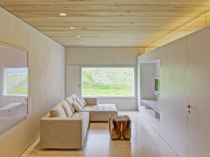 Stylish Minimalist Living Room Design White Wall Wooden Ceiling Glass Door Decor
