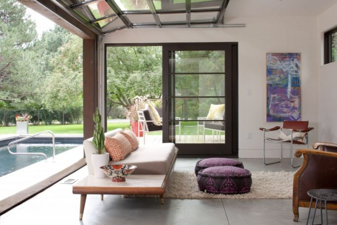 The Living Space Design With Rolling Up Window Design