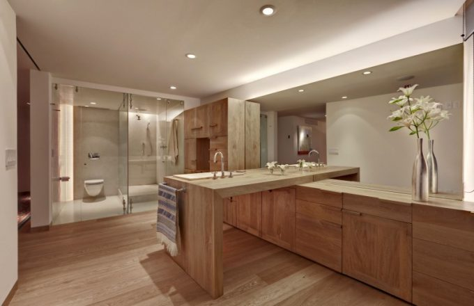 Transparent Bathroom Design And Beautiful Wooden Clean Kitchen Decor