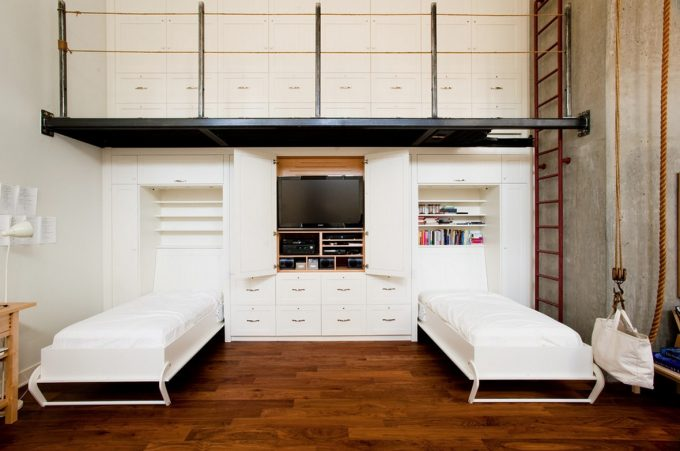 Urban Loft Bedroom Living Brief And Dynamic Furniture Decor White Folding Beds