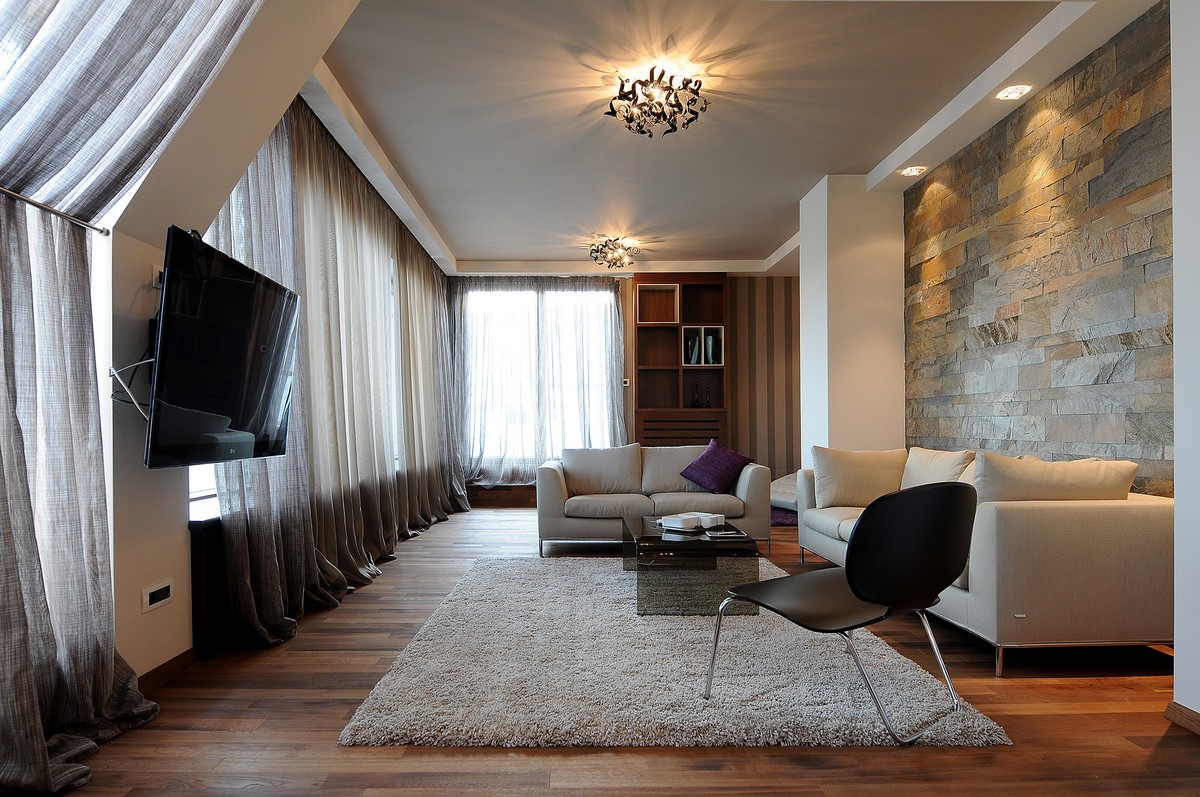 Luxurious Penthouse in Modern and Comfort Design: Warm Living Space Decor With Glass Window Wooden Flooring And Bright Interior