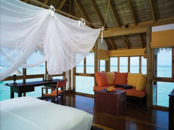 White Bed Curtain Tropical Bedroom Design With Beach View