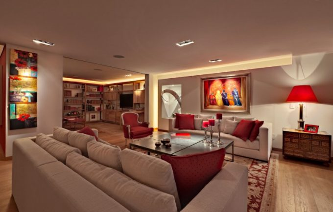 White Interior With Red Accent Furniture For Room Decor