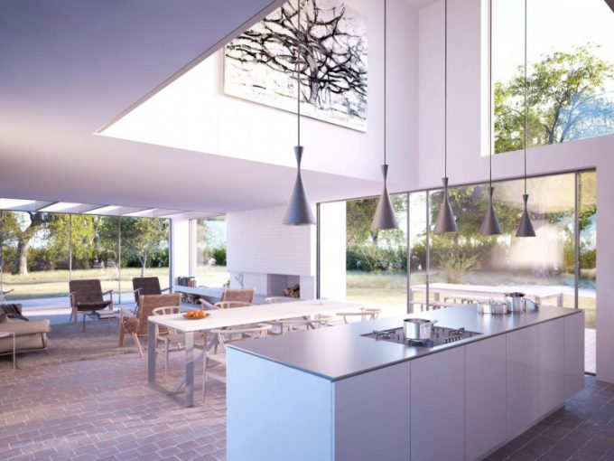 White Kitchen Island With High Glass Wall For Natual Sun Exposure