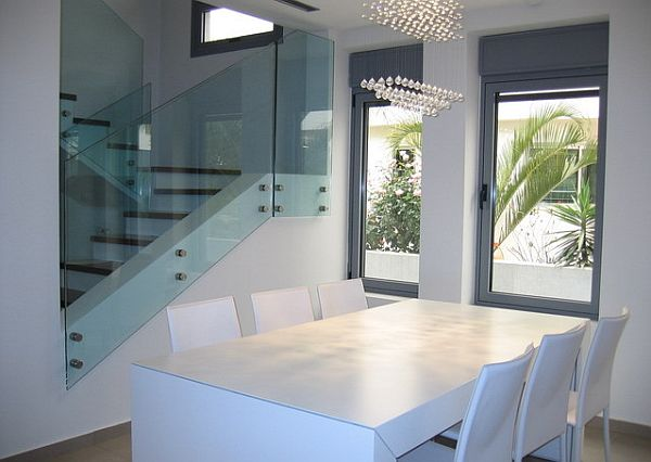 White Modern Minimalist Dining Table Artistic And Futuristic Dining Table