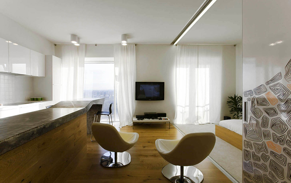 White Wall White Ceiling Decor And Wooden Floor Coloring Modern Minimalist Apartment Remodeling