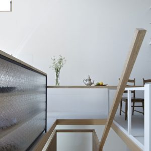 Wooden Banister And White Wall Design