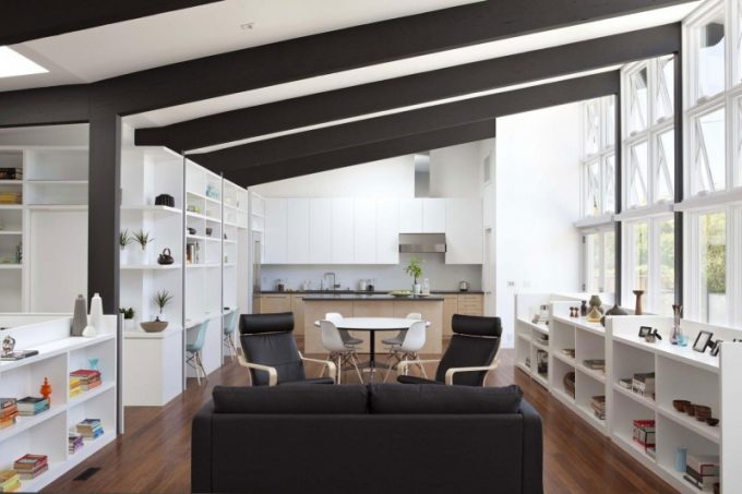 Wooden Floor And Exposed Timber Truss Living Space Decor