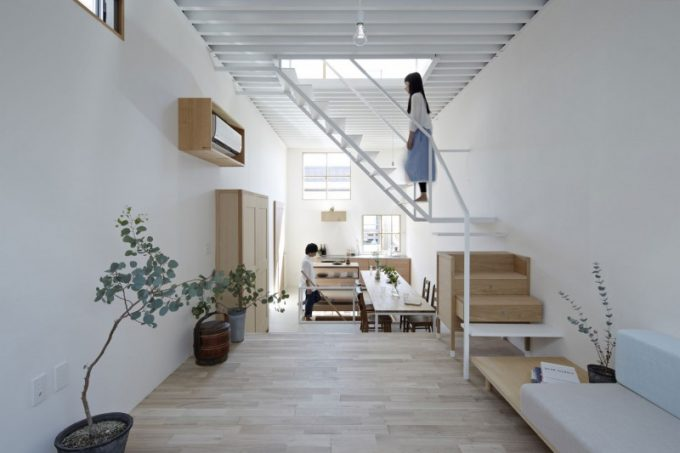 Wooden Floor With White Sofa And White Stair