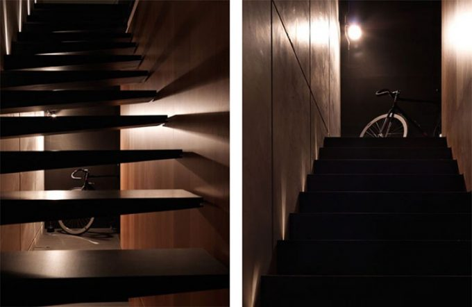 Wooden Stair In Brown Color Interior