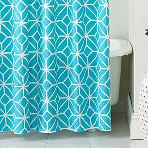2 Color Theme In A Geometric Print Trellis Shower Curtain