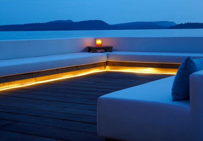 Amazing View At Dusk From The Balcony With Beautuful Floor Lighting Tropical Villa Design