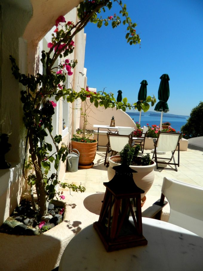 Aris Caves Relaxing Outdoor Space With Sea View And Flowers Decor