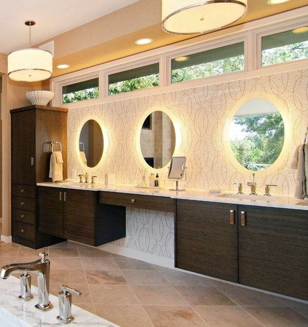Breathtaking Mirror Lighting And Beautiful Vanity Give This Bathroom A Relaxing And Refreshing Atmosphere