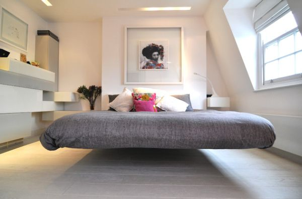 Chic Modern Bedroom With A Cool Floating Bed Draped In Gray New Bed Design