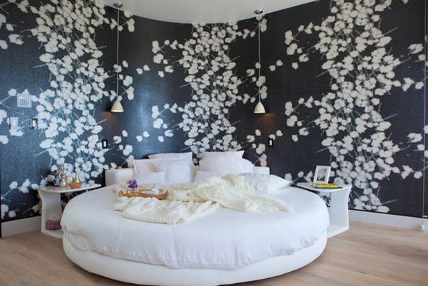 Circle Bed Can Complement A Curved Wall To Perfection And Floral With Black Backsplash Wallpaper Bedroom