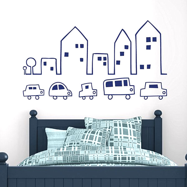 City Skyline Wall Decals In White Wall With Blue Bed Kid's Bedroom
