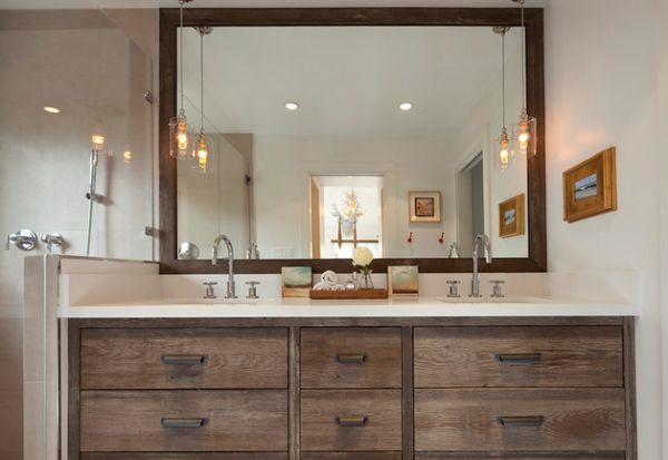 Classic Bathroom Vanity With Clasic 2 Pendant Lights Offer A Vintage Look