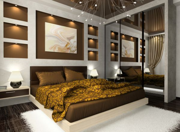 Classy Contemporary Bedroom In Golden Brown Hues With A Floating Bed At Its Heart And White Rugs Decor