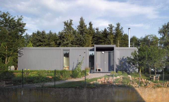 Container House Exterior With Grey Color Eco Friendly House Inspirarion
