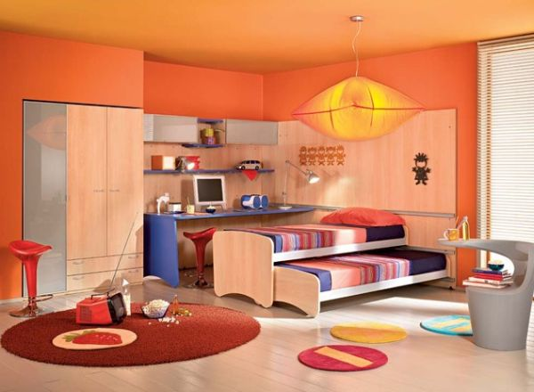Contemporary Colorful Kids Bedroom With A Vivacious Trundle Bed Beautiful Bed Design With Colorful Bedding