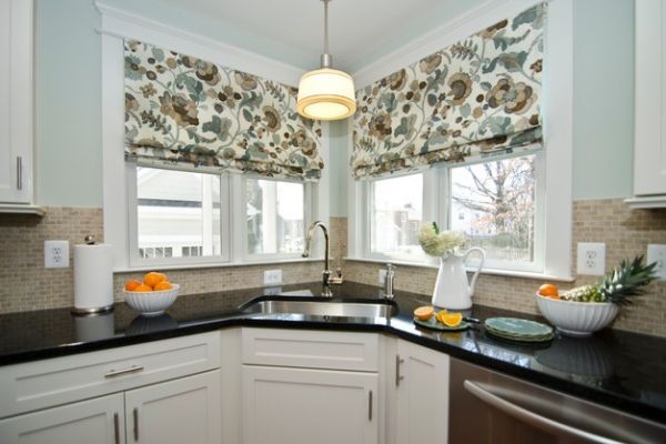 Control The Amount Of Light You Need While Working At The Corner Sink With Lovely Curtains And Black Counters