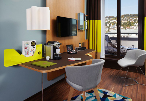 Cool Curtains Contemporary Hotel Bedroom With Small Work Desk