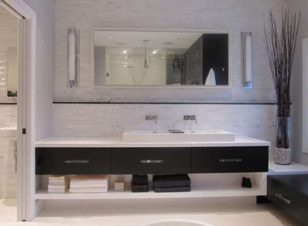 Cool Design And Clean Lines Give This Bathroom Vanity A Minimalist Look And Drop Ceiling Lighting Bathroom