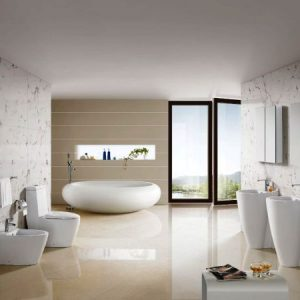 Eclectic Bathroom With White Bowl Porcelain Tub Offers Refined Grace