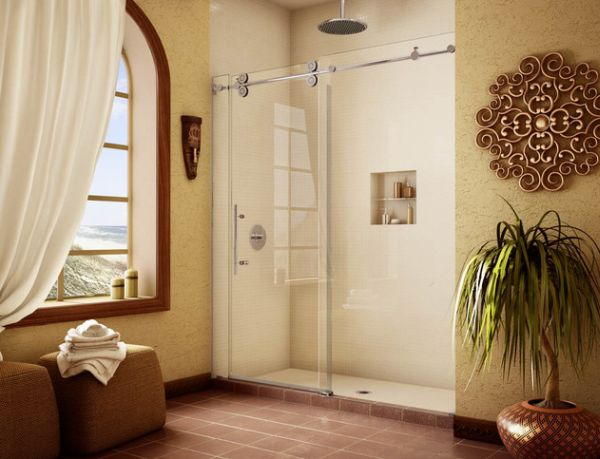 Elegant Shower Space With Sliding Glass Doors In Elegant Bedroom Decor