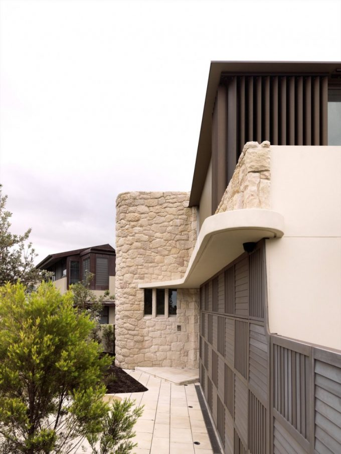 Exterior House Details White Stone Concrete And Wood Material Modern House Materials