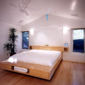 Floating Bed Design With Storage Units Underneath And Wooden Palette Frame