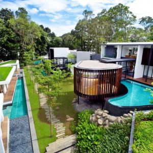 Garden Lovely View Luxury House Design With Holiday Accent Design