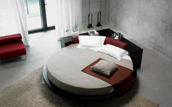 Gorgeous Circle Bed With Black V Shape Headboard In Minimalist Bedroom Design