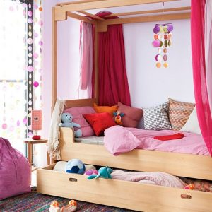 Gorgeous Kids Bedroom With Vivacious Colors And A Cool Trundle Bed Pink Bed Decor For Girls Bedroom