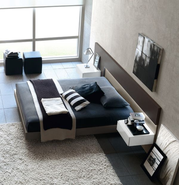 Gorgeous Modern Bedroom In Black And White With Beautiful Floating Bed Also Warm Bedroom Color