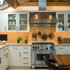 Kitchen Essentials With Glass Roofing Wood Eating Table With Orange Kitchen Countertops Backsplash