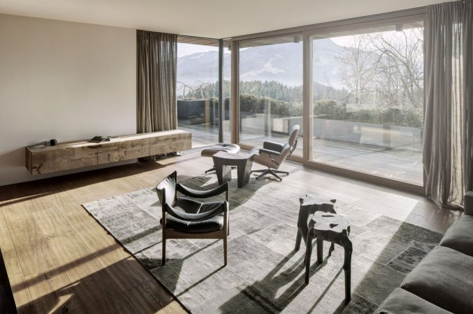Lovely Inspired By Nature Details Living Room Minimalistic Living Room With Floor To Ceiling Glass Window