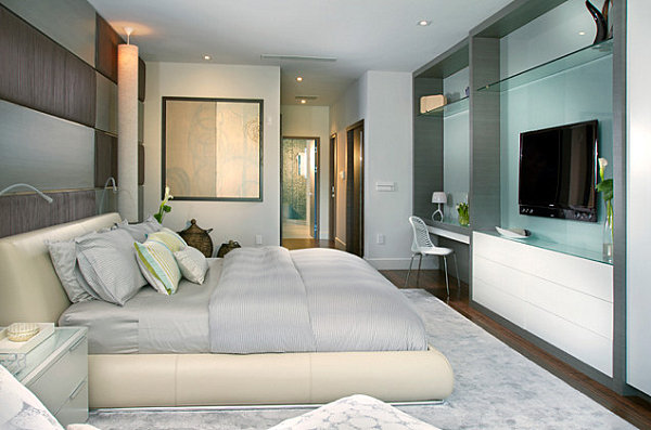 Luxury Bedroom With Stylish Furnishing And Use Desk And TV