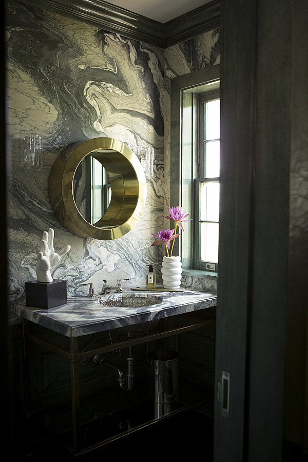 Marble Bathroom In Rich Colors With Marble Powder Room With Round Mirror