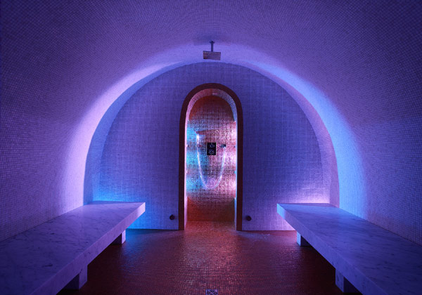 Marco Polo Hammam Room With Purple Lighting Interior
