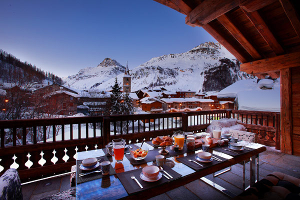 Marco Polo View Hires From Wooden Balcony With Winter View Of Alpine Mountain