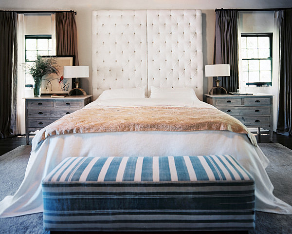 Master Bedroom With A Tufted Headboard Modern Accent Details