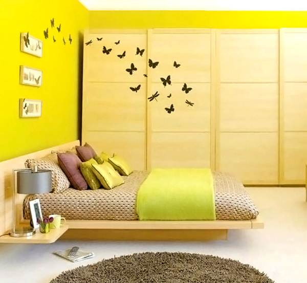 Modern Acid Yellow Bedroom With Ultra Modern In A Sleek Bedroom Space For Fresh Color Bedroom Design