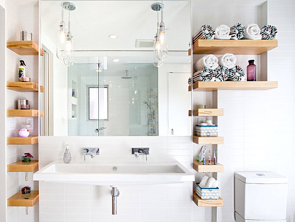 Open Wall Shelving For Bathroom Storage Beautiful Bathroom Decor Ideas