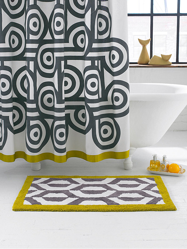 Patterned Jonathan Adler Shower Curtain With Pop Inspired Curves And Parallel Lines